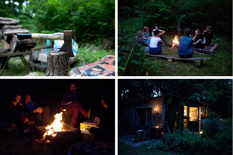 Avond bij ons boshuisje in Wickenburghse bos met kampvuur - Werfzeep