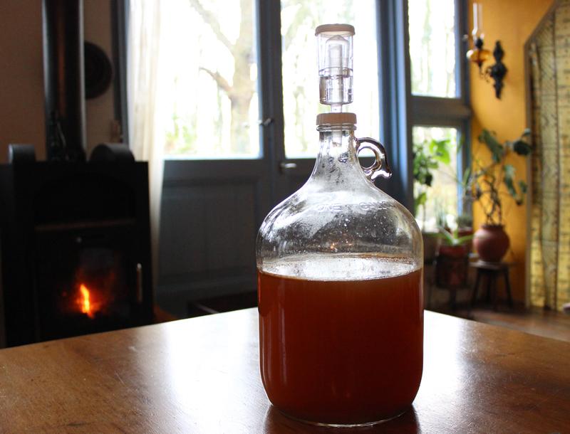 Onze gistingsfles met appelcider na twee weken fermenteren - Werfzeep