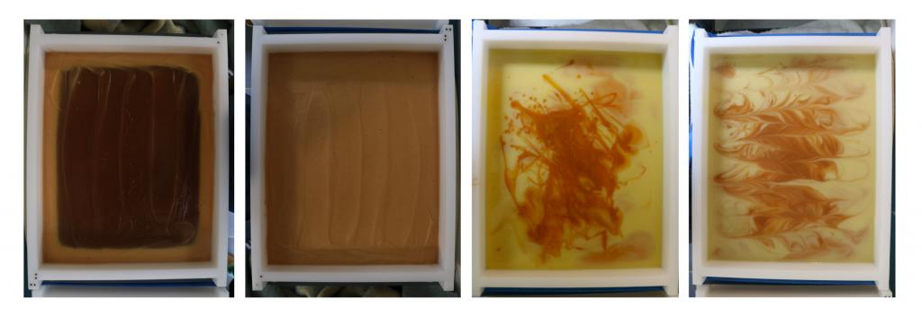 Zeep met rozenbottels - in de gelfase en voor en na de swirl - Werfzeep