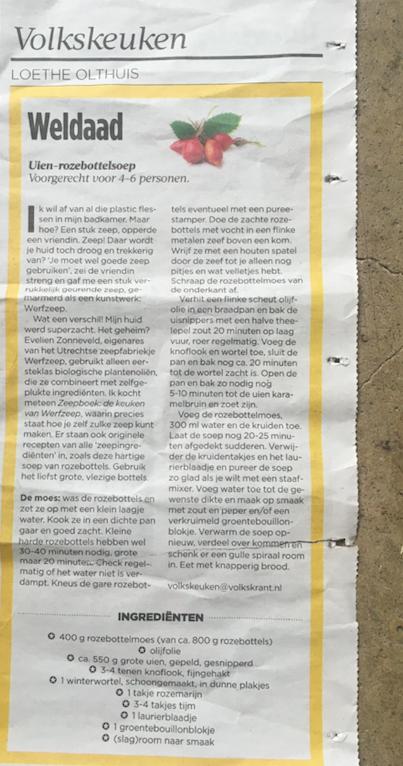 Rozenbottelrecept in de Volkskrant Loethe Olthuis review Werfzeep