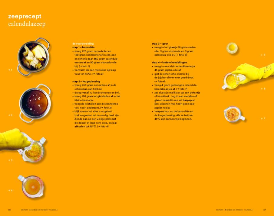 Zeepboek inkijkexemplaar calendulazeep recept