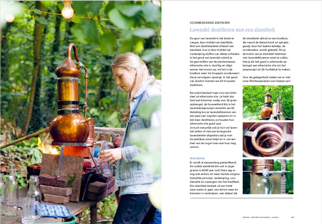 Zeepboek inkijkexemplaar lavendelolie destilleren