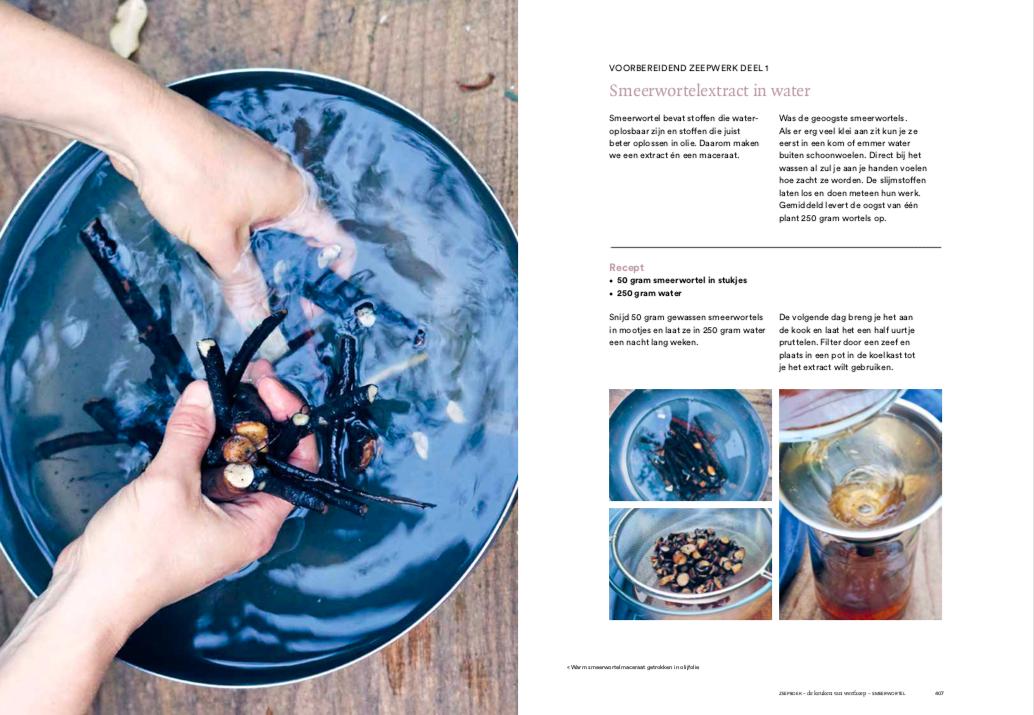 Zeepboek -extract maken van smeerwortel - inkijkexemplaar
